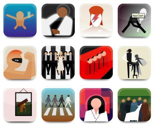 אפליקציות לאלבומים קלאסיים, בעיצוב של כריסטוף גאוונס. מזהים את כולם?